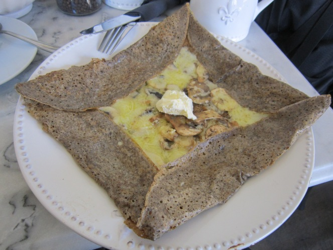 My Rouen, buckwheat crepes with mushroom, swiss, and creme fraische
